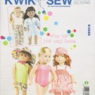 "Kwik Sew Sewing Pattern 3688 K3688 18"" Doll Clothes Playtime Swimsuit Shorts Pants Dress T-Shirt"