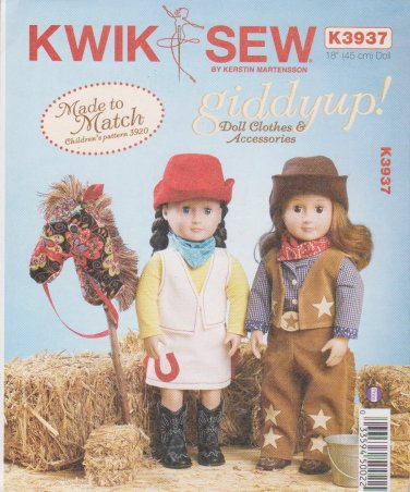 """Kwik Sew Sewing Pattern 3937 K3937 Giddyup 18"""" Cowgirl Doll Clothes Horse"""