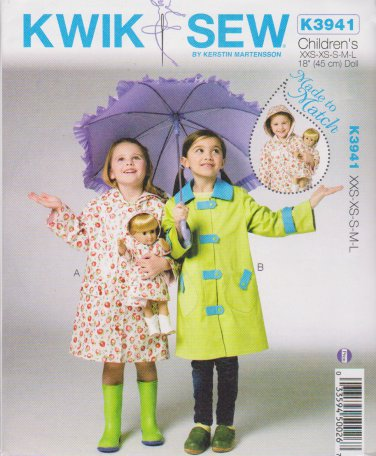 "Kwik Sew Sewing Pattern 3941 K3941 Girls 3-10 (XXS-L) Doll 18"" Raincoats Optional Hood"