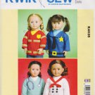 "Kwik Sew Sewing Pattern 4035 K4035 18"" Doll Career Tops Fireman Doctor Chef Police"