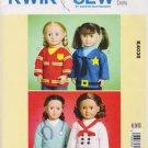 "Kwik Sew Sewing Pattern 4035 K4035 18"" Doll Career Tops Fireman Doctor Chef Police"