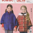 Kwik Sew Sewing Pattern 4130 K4130 Girls Sizes 3-10 Dolman Sleeve Jacket Button Front Optional Hood