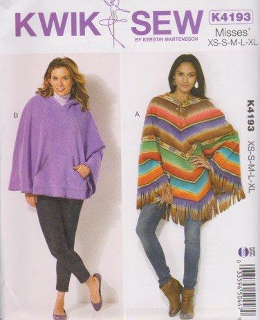 Kwik Sew Sewing Pattern 4193 K4193 Misses Sizes XS - XL Ponchos Optional Hood Kanagroo Pocket