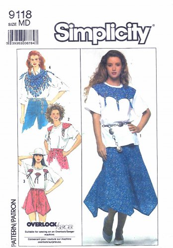 Simplicity Sewing Pattern 9118 Misses Size 14-16 Skirt Shorts Scarf Knit Top