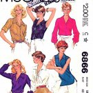 McCall's Sewing Pattern 6866 M6866 Misses Size 18 Easy Classic Pullover or Button Front Blouse
