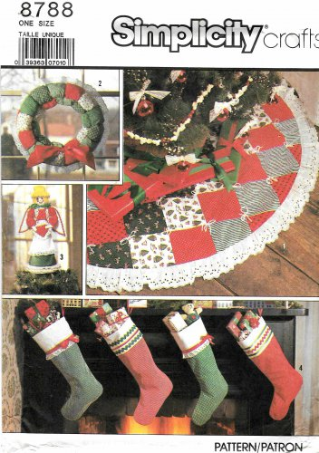 Simplicity Sewing Pattern 8788 Christmas Stockings Tree Skirt Wreath Angel Decor