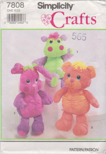 Simplicity Sewing Pattern 7808 Cuddly Bear Bunny Hippo