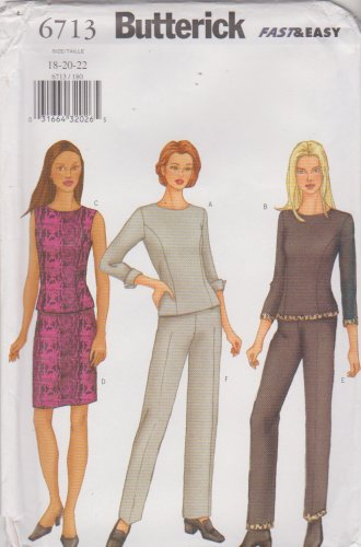Butterick Sewing Pattern 6713 B6713 Misses Size 18-22 Easy Top Skirt Pants