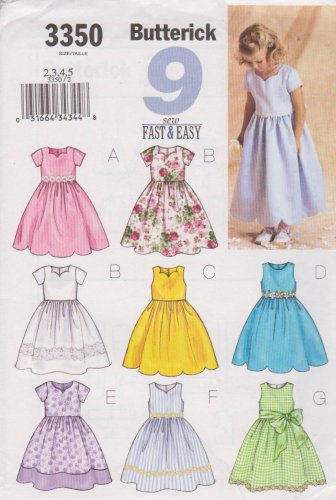 Butterick Sewing Pattern 3350 B3350 Girls' Sizes 2-5 Easy Formal Dress Sleeve Hem Neckline Options