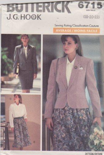 Butterick Sewing Pattern 6715 B6715 Misses' Sizes 18-22 Jacket Skirt Blouse Suit J G Hook