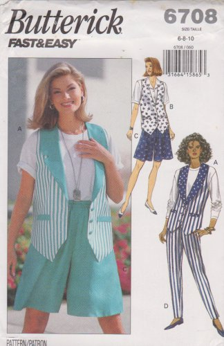 Butterick Sewing Pattern 6708 B6708 Misses Size 6-10 Easy Vest Shorts Pants
