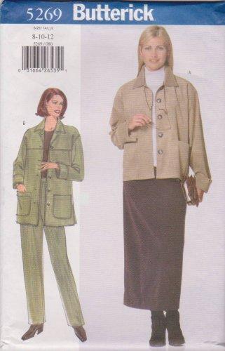 Butterick Sewing Pattern 5269 B5269 Misses Sizes 8-12 Easy Jacket Skirt Pants Pantsuit