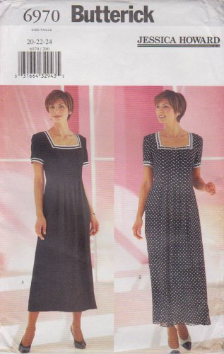 Butterick Sewing Pattern 6970 B6970 Misses Sizes 20-24 Easy Short Sleeve Dress Jessica Howard