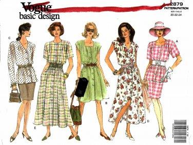 Vogue Sewing Patterns 2879 V2879 Misses 20-24 Easy Basic Dress Top Skirt