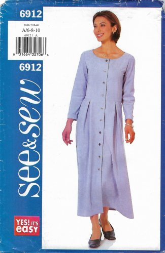 Butterick Sewing Pattern 6912 B6912 Misses Sizes 6-10 Easy Button Front Long Sleeve Dress