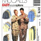 McCall's Sewing Pattern 2478 Misses Mens Size XL-XXL Easy Nightshirt Top Pants Short Pajamas