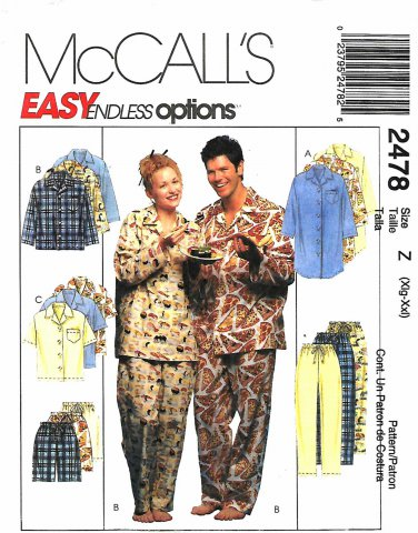 McCall's Sewing Pattern 2478 M2478 Misses Mens Size XL-XXL Easy Nightshirt Top Pants Short Pajamas