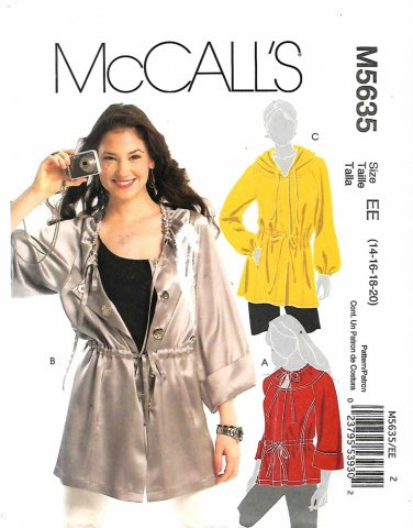 McCall's Sewing Pattern 5635 M5635 Misses Sizes 14-20 Jacket Anorak Hooded Length Options