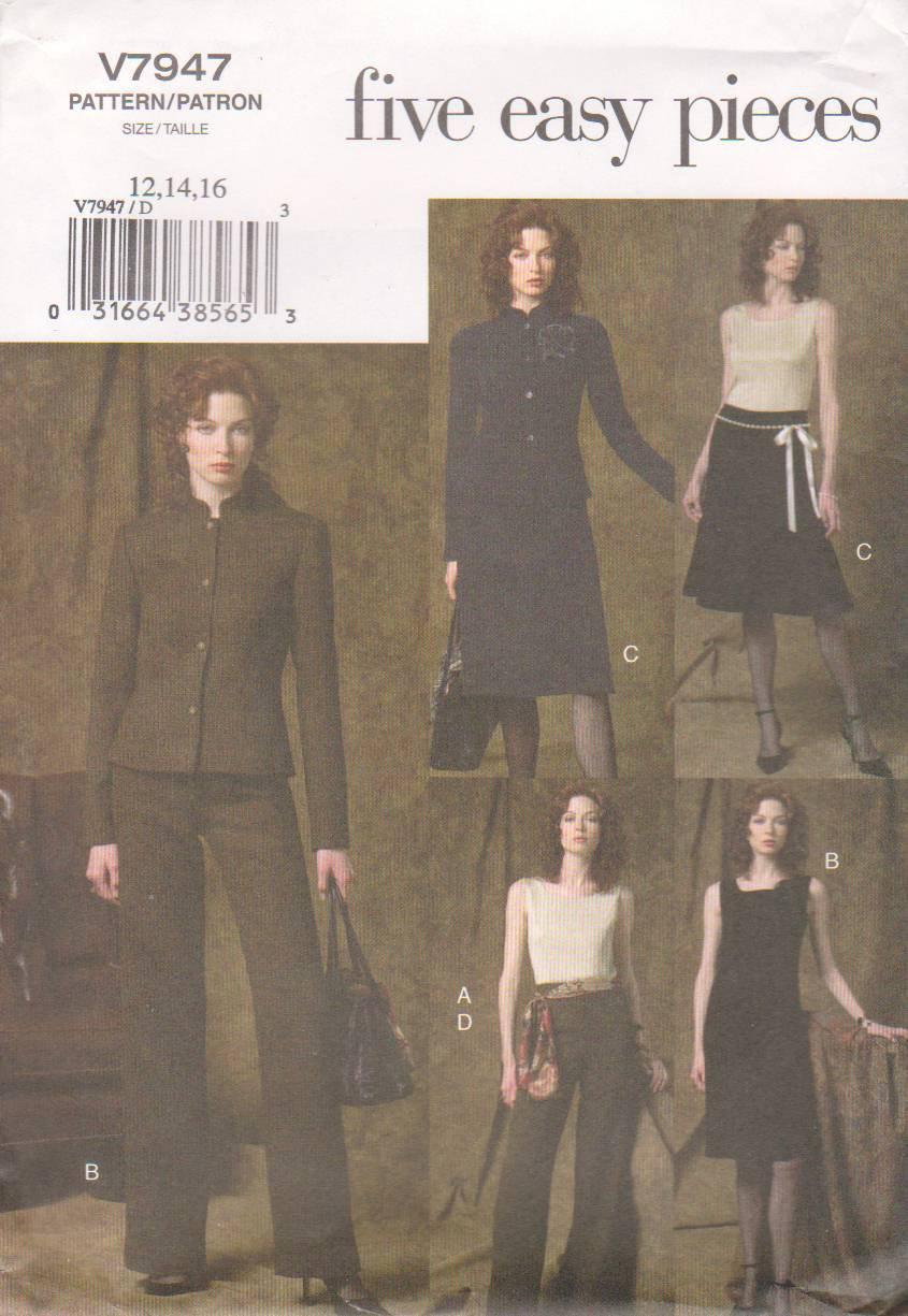 Vogue Sewing Pattern 7947 V7947 Misses Size 12-16 Easy Wardrobe Jacket Top Dress Skirt Pant