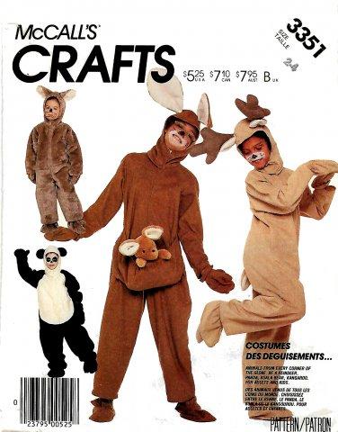McCall's Sewing Pattern 3351 M3351 P988 Child Size 2-4 Panda Bear Kanagroo Reindeer Koala Costume