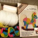"Patchwork Pony Pillow Wall Hanging K3381 Caron Latch Hook Kit 15"" x 15"""