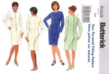 Butterick Sewing Pattern 5628 B5628 Womans Plus Size 16W Fitting Shell Straight Dress