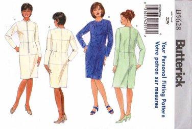 Butterick Sewing Pattern 5628 B5628 Womans Plus Size 22W Fitting Shell Straight Dress