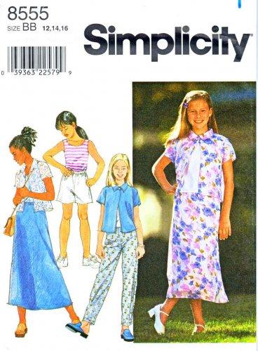 Simplicity Sewing Pattern 8555 Girls Size 7-10 Wardrobe Skirt Shorts Pants Skirt Knit Tank Top