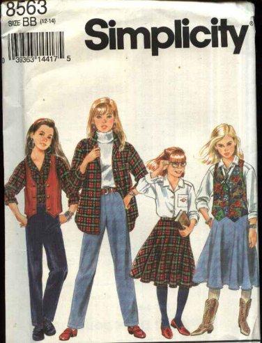 Simplicity Sewing Pattern 8563 Girls size 7-10 Wardrobe Circle Skirt Long Pants Vest Shirt