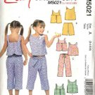 McCall's Sewing Pattern 5021 M5021 Girls Size 3-6 Easy Summer Wardrobe Top Skort Shorts Pants