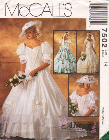 McCall�s Sewing Pattern 7502 M7502 Misses Size 14 Alicyn Wedding Dress Bridal Gown Bridesmaid