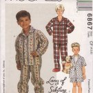 McCall's Sewing Pattern 6867 M6867 Boys Size 4-6 Pajama Tops Pants Shorts Slippers Booties