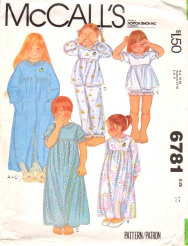McCall's Sewing Pattern 6781 M6781 Girls Size 10 Nightgown Robe Baby Doll Pajamas