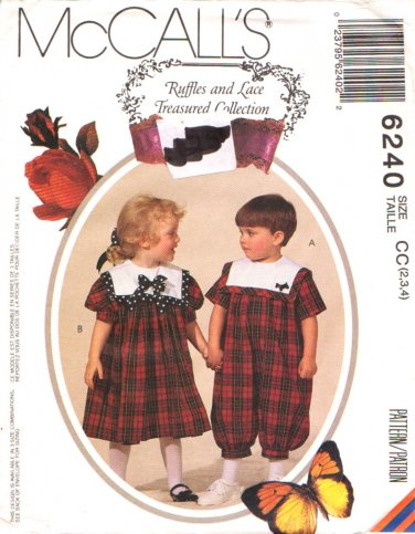 McCall's Sewing Pattern 6240 M6240 Girls Boys Size 2-4 Romper Dress Sailor Collars