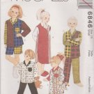 McCall's Sewing Pattern 6846 M6846 Boys Girls Size 7 Easy Pajama Tops Pants Shorts Nightshirt
