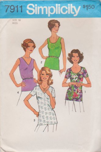 Simplicity Sewing Pattern 7911 Misses Size 16 Classic Pullover Tops Neck Sleeve Options