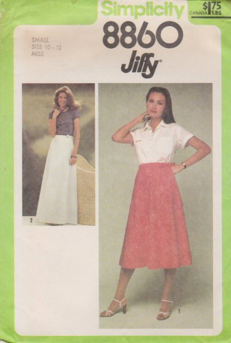 Simplicity Sewing Pattern 8860 Misses Size 10-12 Jiffy Front Wrap Skirt Two Lengths