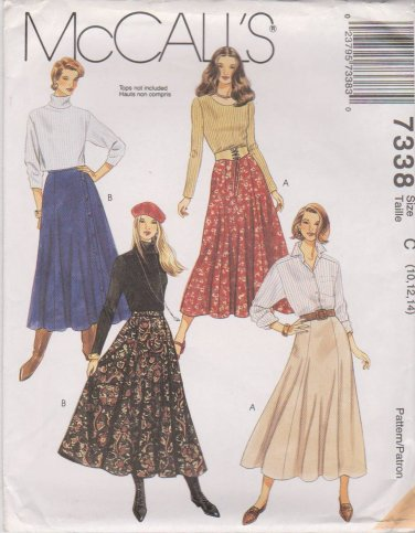 McCall's Sewing Pattern 7338 M7338 Misses Size 10-14 A-Line Classic Flared Skirts