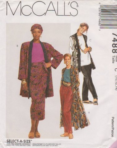 McCall's Sewing Pattern M7488 7488 Misses Sizes 10-14 Duster Jacket Vest Top Skirt Pants Headwrap