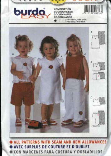Burda Sewing Pattern 9856 Girls Size 9month - 3T Dress Pants Top