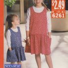 Butterick Sewing Pattern 6261 B6261 Girls Sizes 2-6 Easy Jumper Pullover Long Sleeve Top