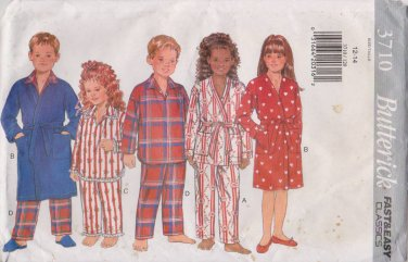 Butterick Sewing Pattern B3710 3710 Boys Girls Sizes 12-14 Robe Pajamas