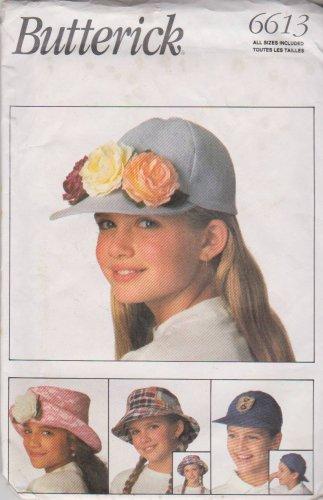 Butterick Sewing Pattern B6613 6613 Girls Boys Hats Caps Baseball Sunhat Beret Captains Hat