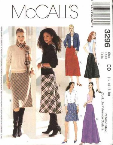 McCall�s Sewing Pattern M3296 3296 Misses Size 12-18 Bias Skirts Straight Fishtail Back