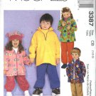 McCall's Sewing Pattern M3387 3387 Boys Girls Size 1-3 Fleece Pullover Hooded Jacket Pants Hat Top