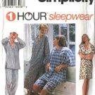 "Simplicity Sewing Pattern 9391 Misses Mens Size XS-M 30-40"" Sleepwear Pajamas Nightshirt Pants"