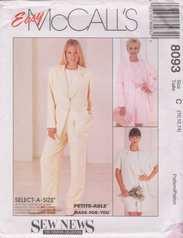 McCalls Sewing Pattern M8093 8093 Misses Size 10-14 Easy Jacket Top Pants Shorts Wardrobe