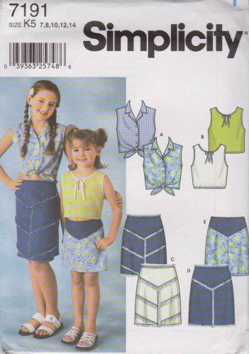 Simplicity Sewing Pattern 7191 Girls Size 3-6 Skirts Sleeveless Top Options