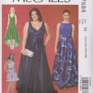 McCall's Sewing Pattern 7684 M7684 Womens Plus Size 18W-24W Easy Formal Dresses Gown