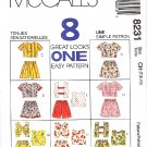 McCall's Sewing Pattern M8231 8231 Girls Size 7-10 Easy Tops Suntops Shorts